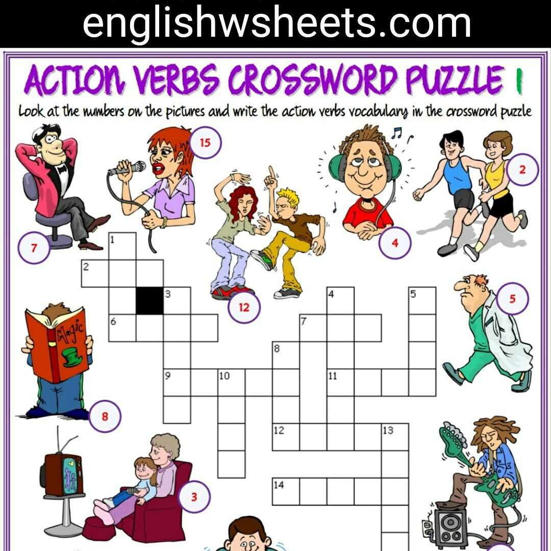 Action Verbs Esl Printable Crossword Puzzle Worksheets For Kids - Printable Lexicon Puzzles