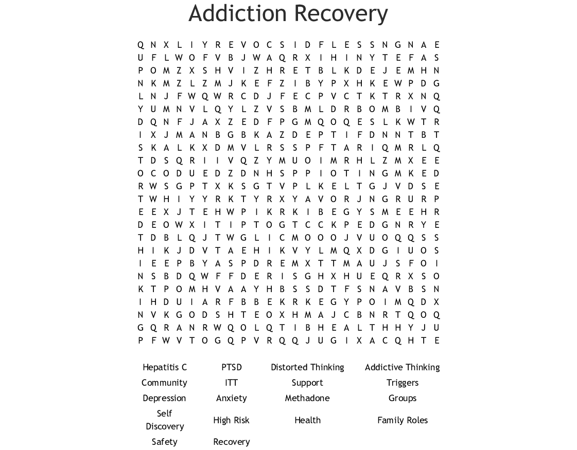 Addiction Recovery Word Search - Wordmint - Printable Recovery Crossword Puzzles