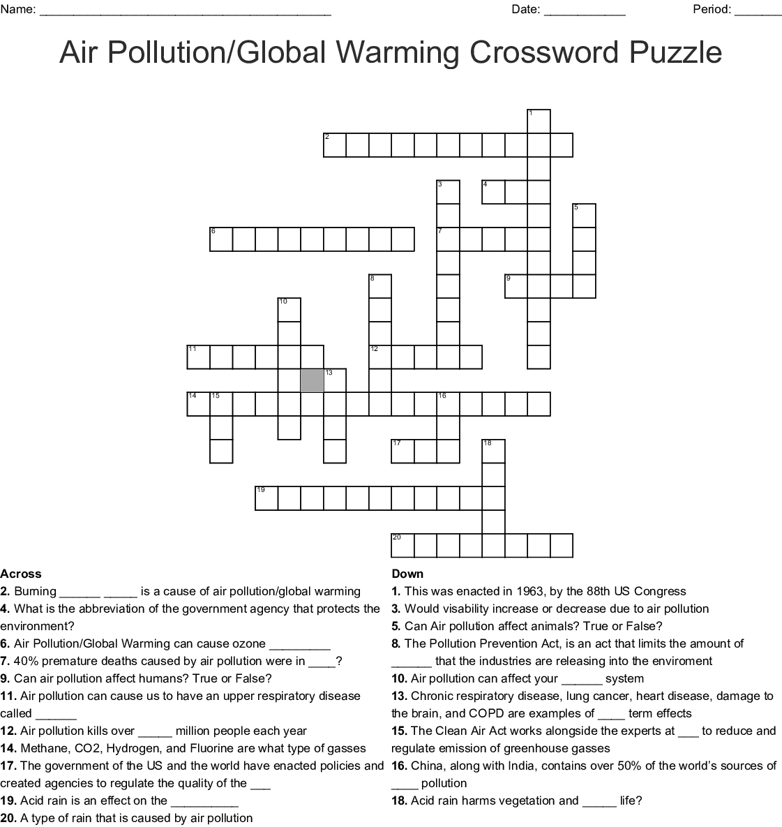 Air Pollution/global Warming Crossword Puzzle Crossword - Wordmint - Global Warming Crossword Puzzle Printable