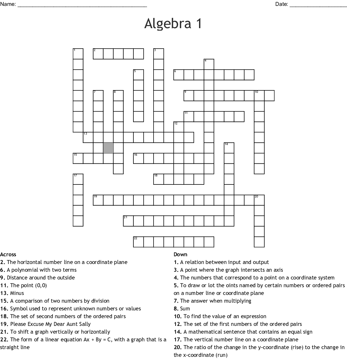 Algebra 1 Crossword - Wordmint - Free Printable Crossword Puzzle #1 Answers