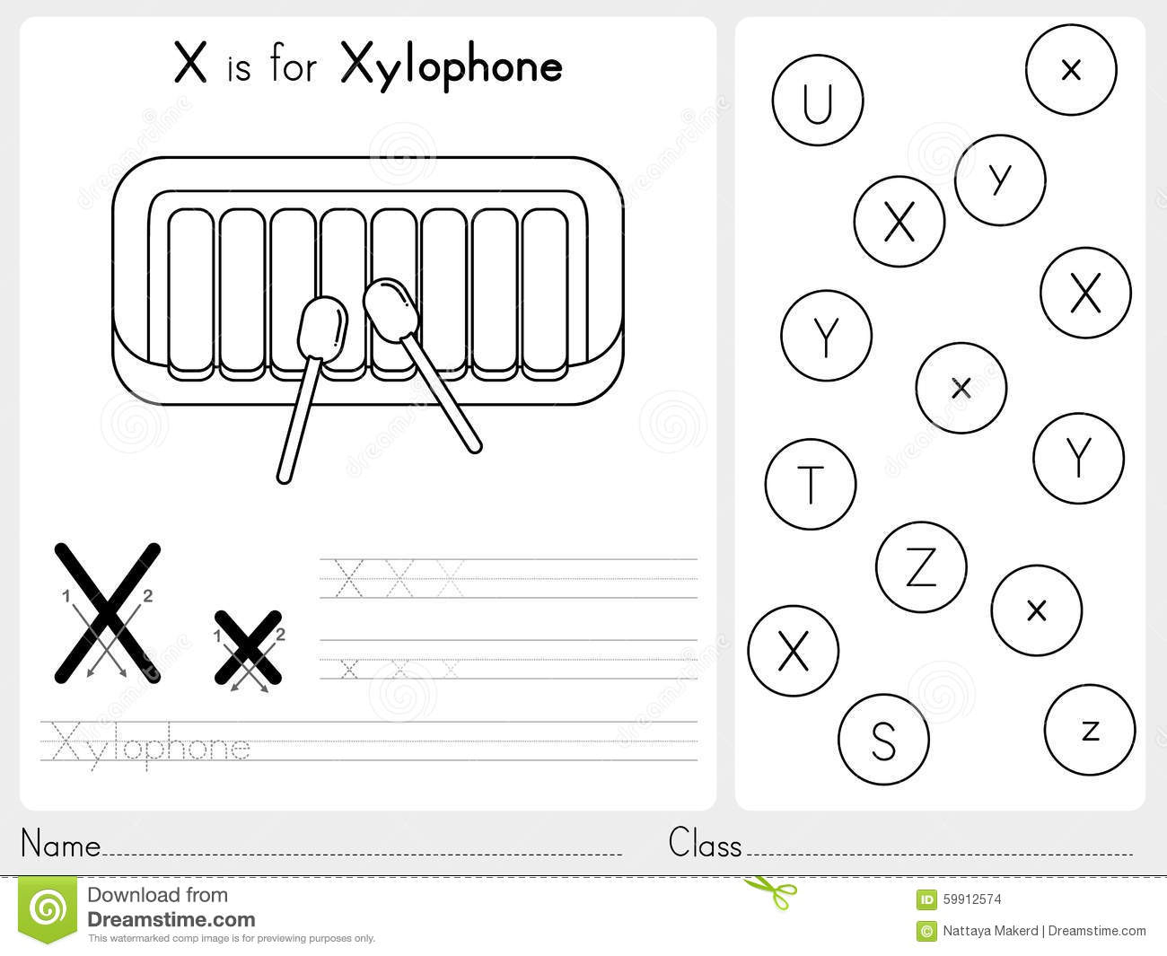 Alphabet A-Z Tracing And Puzzle Worksheet, Exercises For Kids - X Puzzle Worksheet