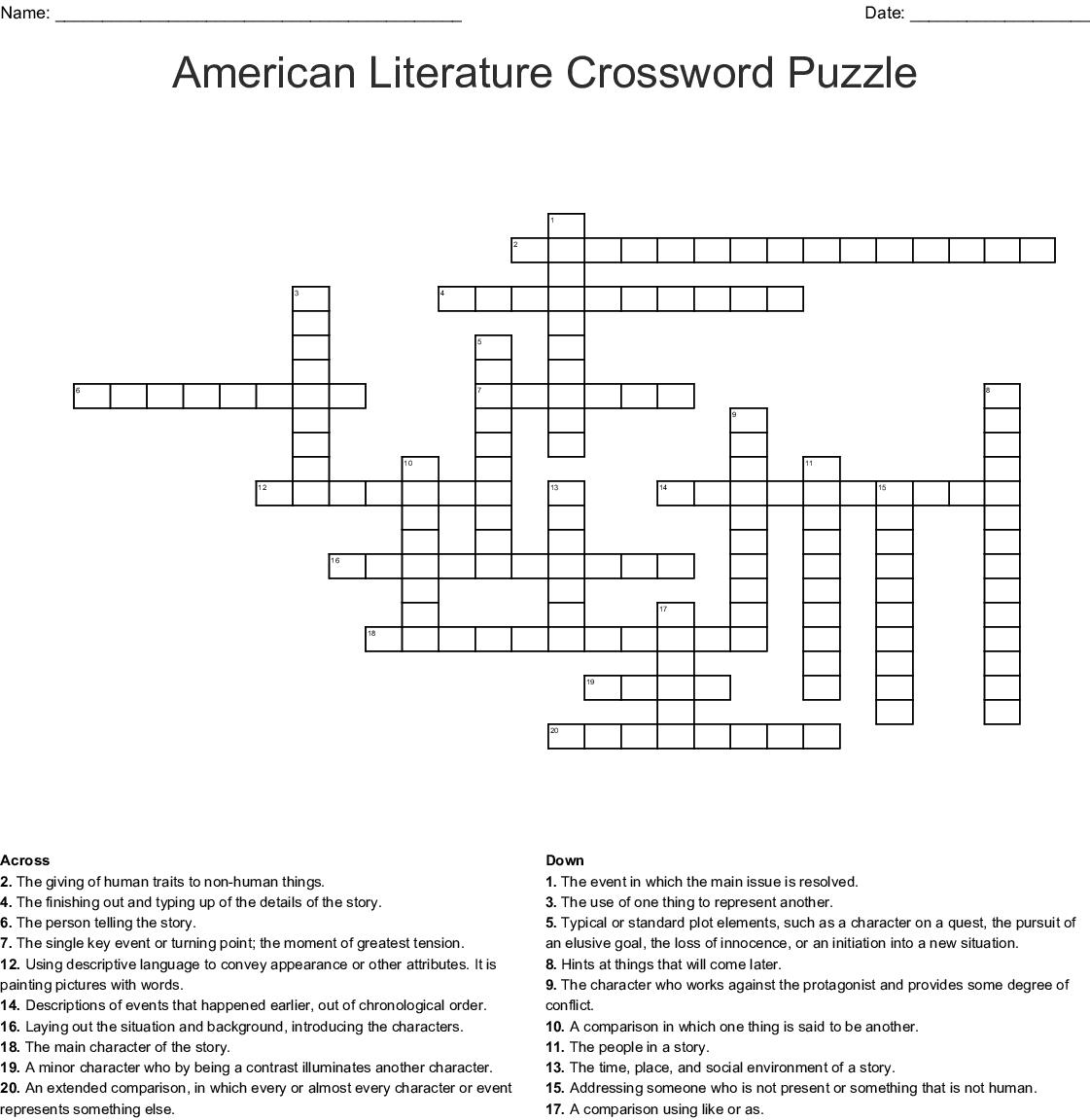American Literature Crossword Puzzle Crossword - Wordmint - Literature Crossword Puzzles Printable