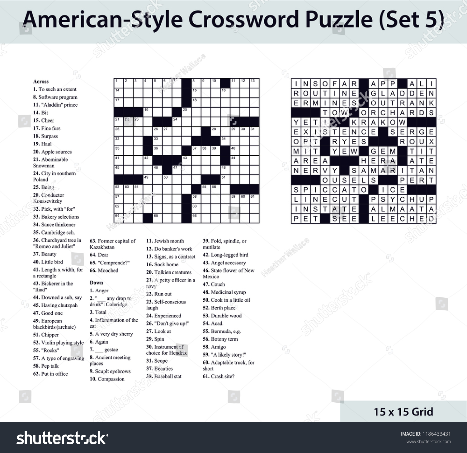 Americanstyle Crossword Puzzle 15 X 15 Stock Vector (Royalty Free - 15 X 15 Printable Crosswords