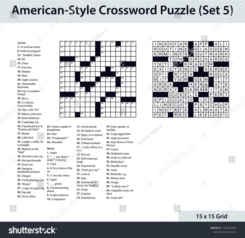 Americanstyle Crossword Puzzle 15 X 15 Stock Vector (Royalty Free - 15X15 Printable Crossword Puzzles