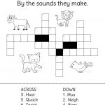 Animals And Their Sounds Crossword Puzzle.   Crossword Puzzles For Kids   Animal Crossword Puzzle Printable