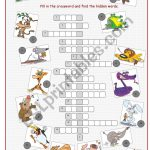Animals Crossword Puzzle   Esl Worksheetkissnetothedit   Animal Crossword Puzzle Printable