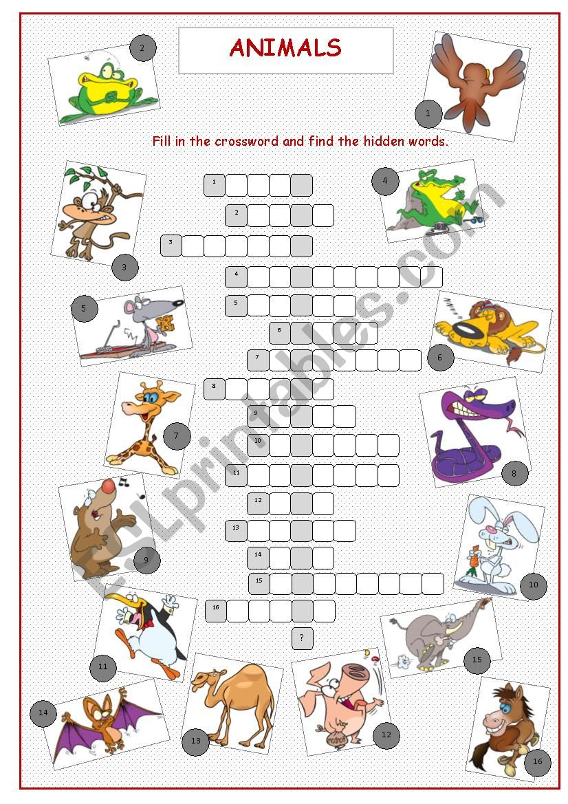 Animals Crossword Puzzle - Esl Worksheetkissnetothedit - Animal Crossword Puzzle Printable