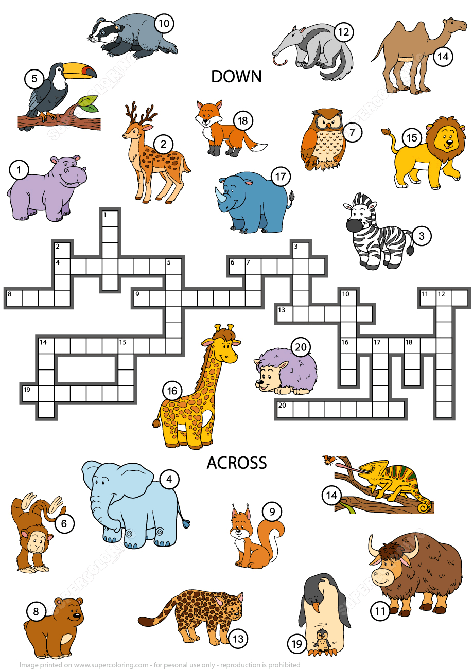 Animals Crossword Puzzle For Studying English Vocabulary | Free - Printable Crossword Puzzles For Learning English