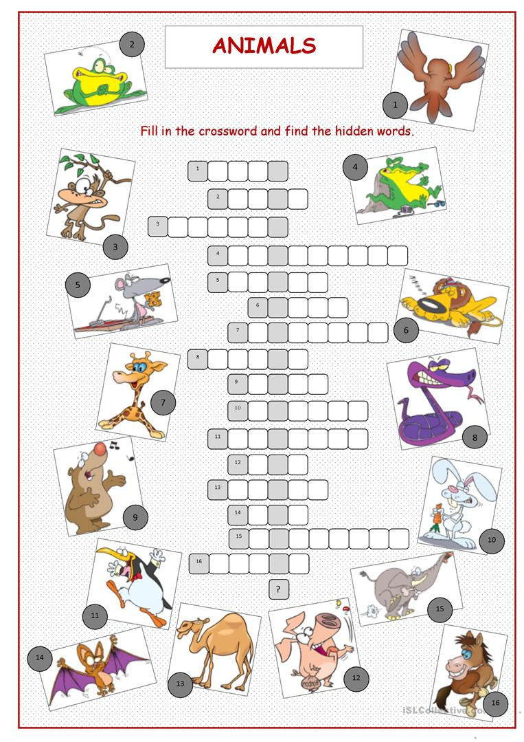 Animals Crossword Puzzle Worksheet - Free Esl Printable Worksheets - Printable Crossword Puzzles About Animals
