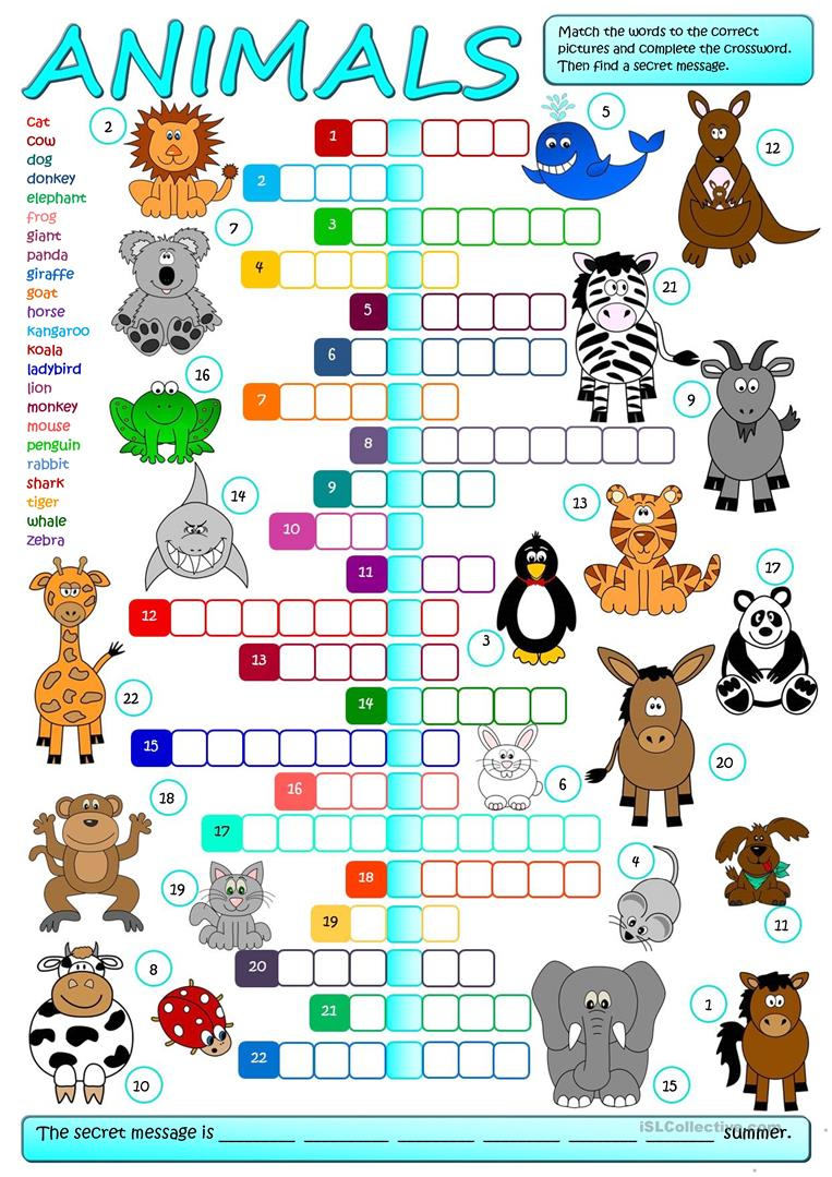 Animals - Crossword Worksheet - Free Esl Printable Worksheets Made - Printable Crossword Puzzles About Animals