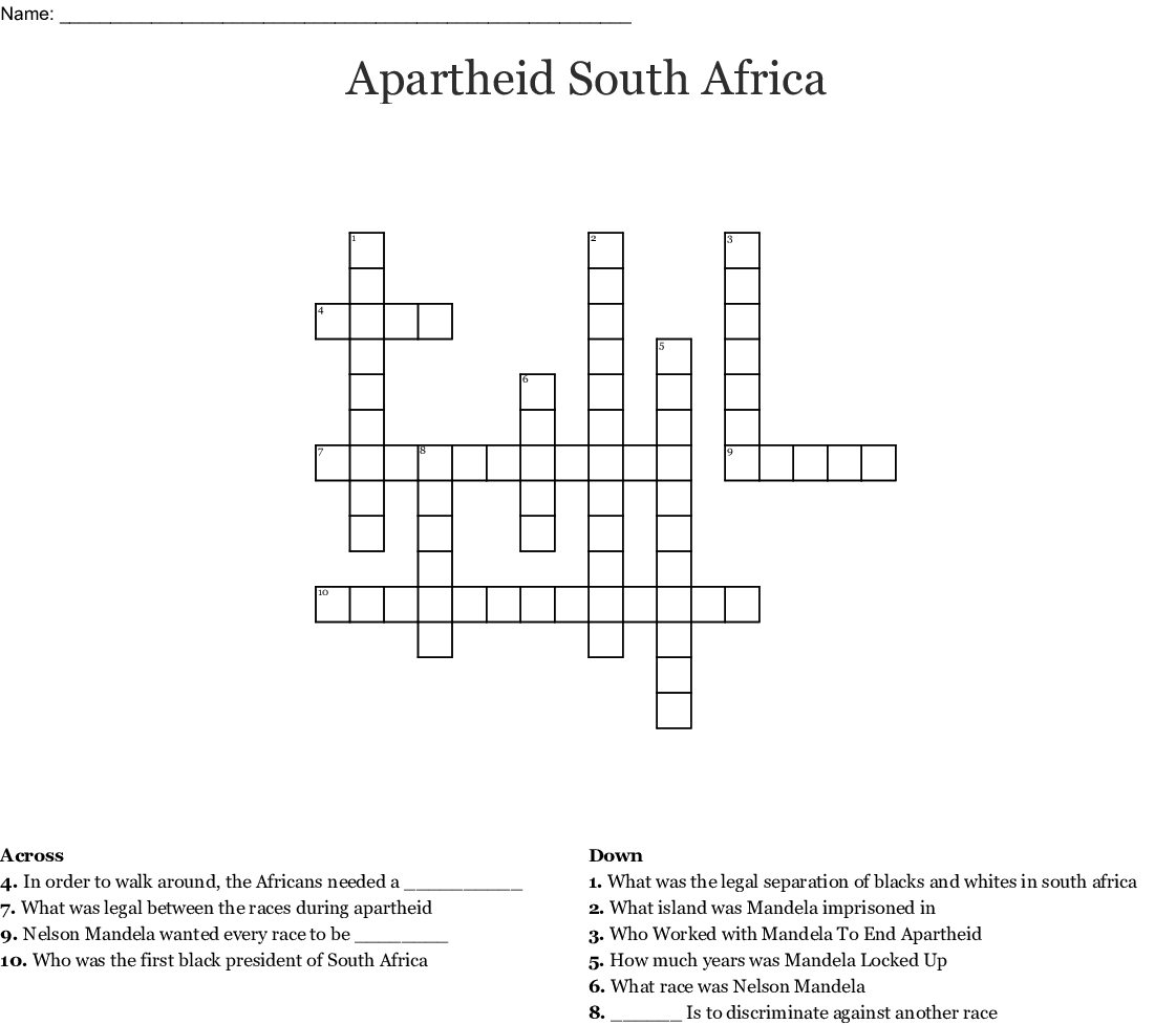 Apartheid South Africa Crossword - Wordmint - Printable Crossword Puzzles South Africa