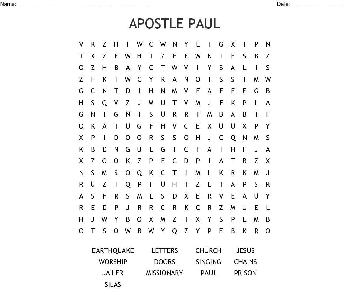 Apostle Paul Word Search - Wordmint - Printable Bible Crossword Puzzle The Apostle Paul Answers