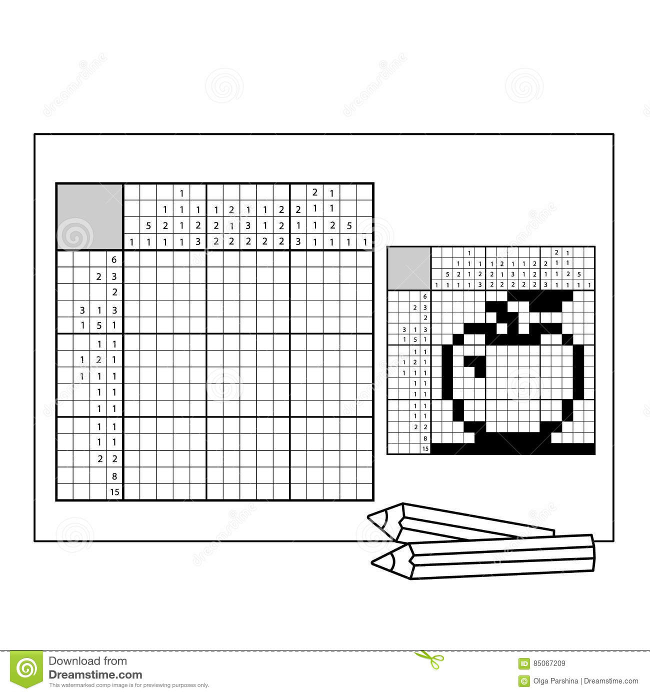 Apple. Black And White Japanese Crossword With Answer. Nonogram - Printable Japanese Crosswords