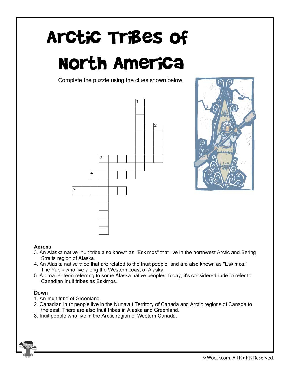 Arctic Tribes Of North America Crossword Puzzle | Woo! Jr. Kids - Native American Crossword Puzzle Printable