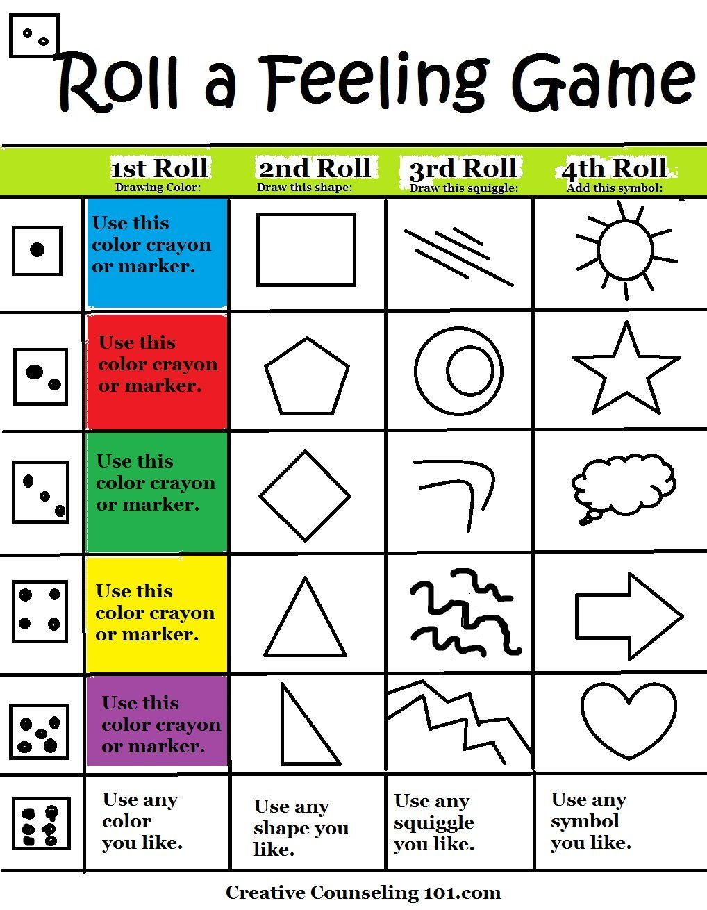 Art Therapy Roll-A-Feelings Game With Free Art Therapy Game Board - Printable Mind Puzzle Games