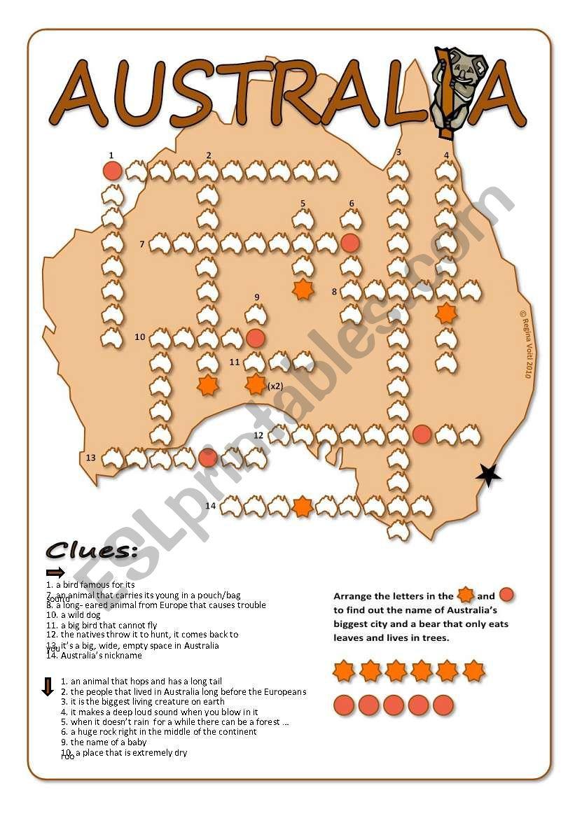 Australia Crossword Puzzle - Esl Worksheetblunderbuster - Printable Crossword Australia