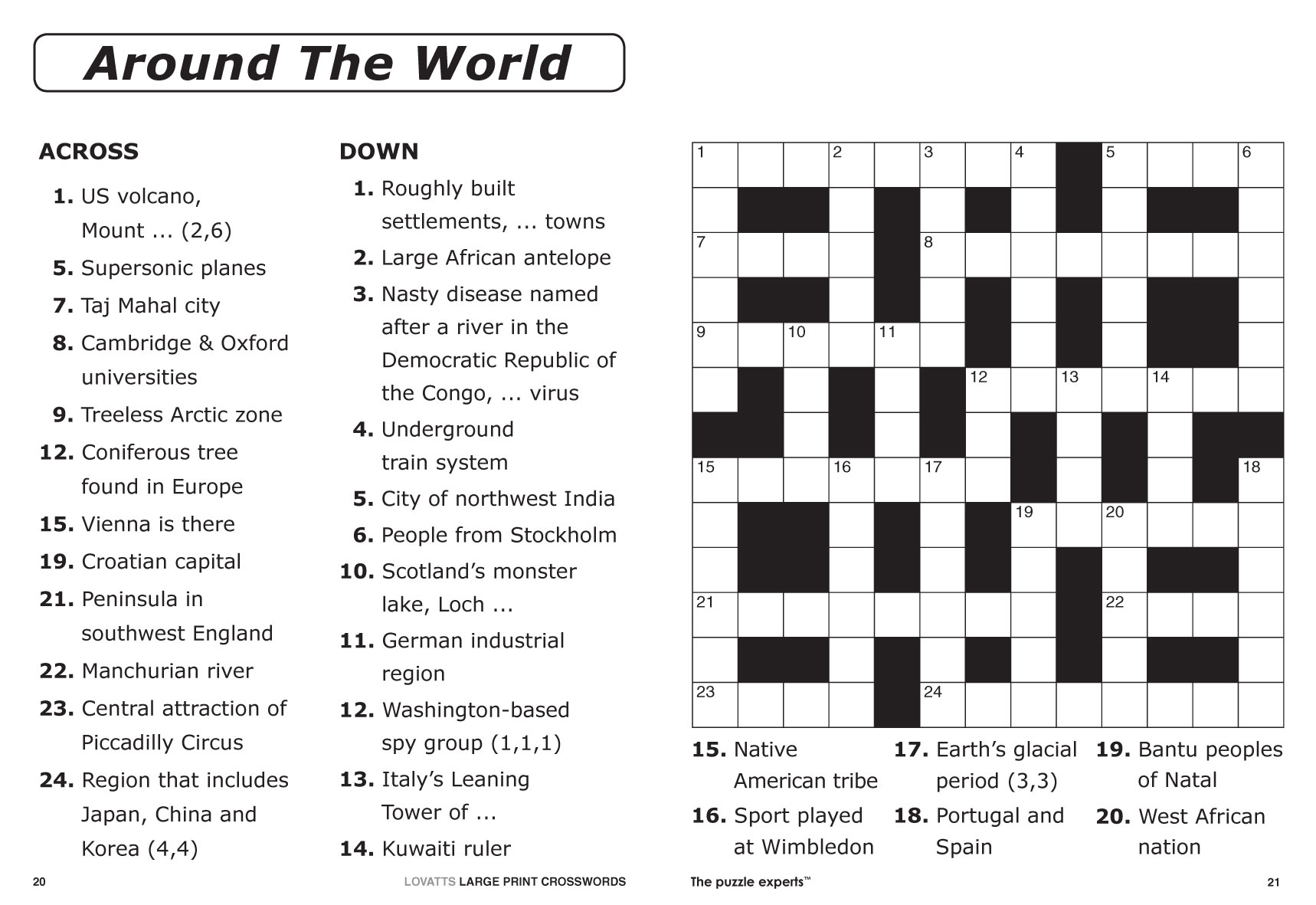 Australian Crossword Puzzles To Print Large Print Crosswords 2 - Printable Crossword Puzzles Australia