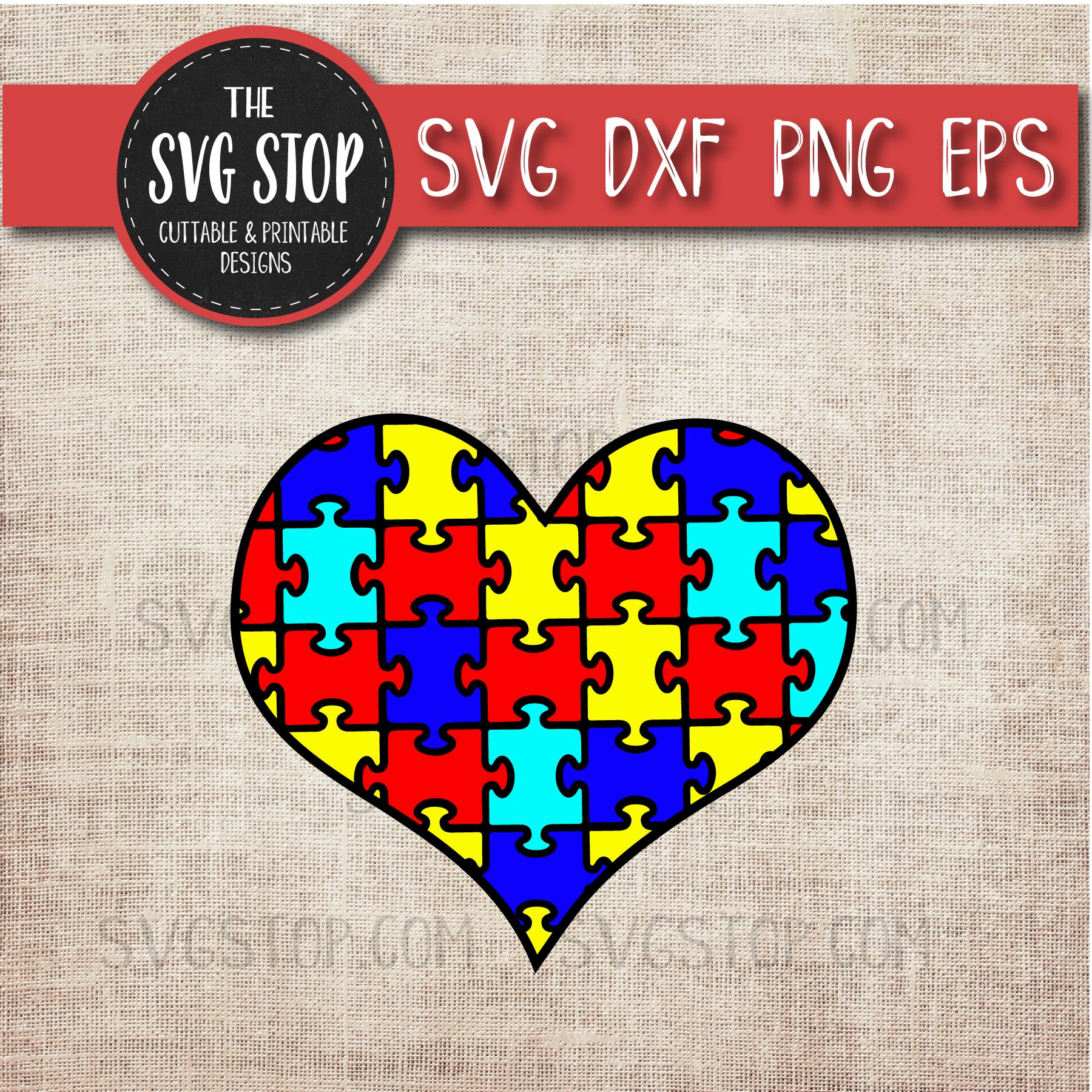 Autism Puzzle Heart - Awareness Svg - Sofontsy - Printable Puzzle Heart