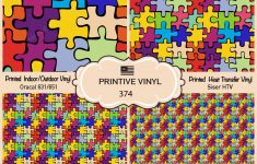 Autism Puzzle Pattern Printed Htv, Adhesive Vinyl  374   Ebay   Puzzle Print Htv