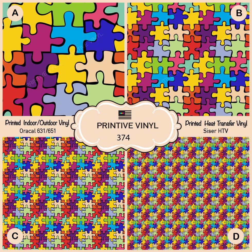 Autism Puzzle Pattern Printed Htv, Adhesive Vinyl- 374   Ebay - Puzzle Print Htv