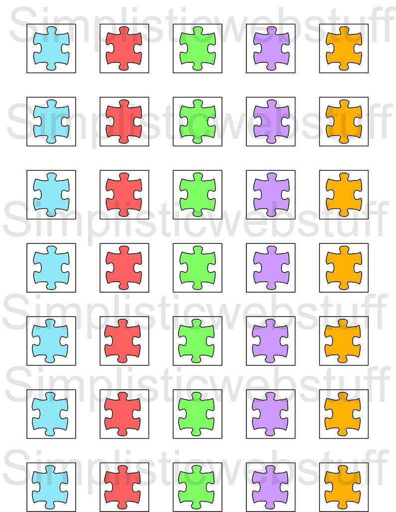 Autism Puzzle Piece 1X1 Inch Square Printable For Pendants | Etsy - Printable Autism Puzzle Piece