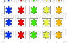Autism Puzzle Piece 1X1 Inch Square Printable For Pendants | Etsy   Printable Autism Puzzle Piece