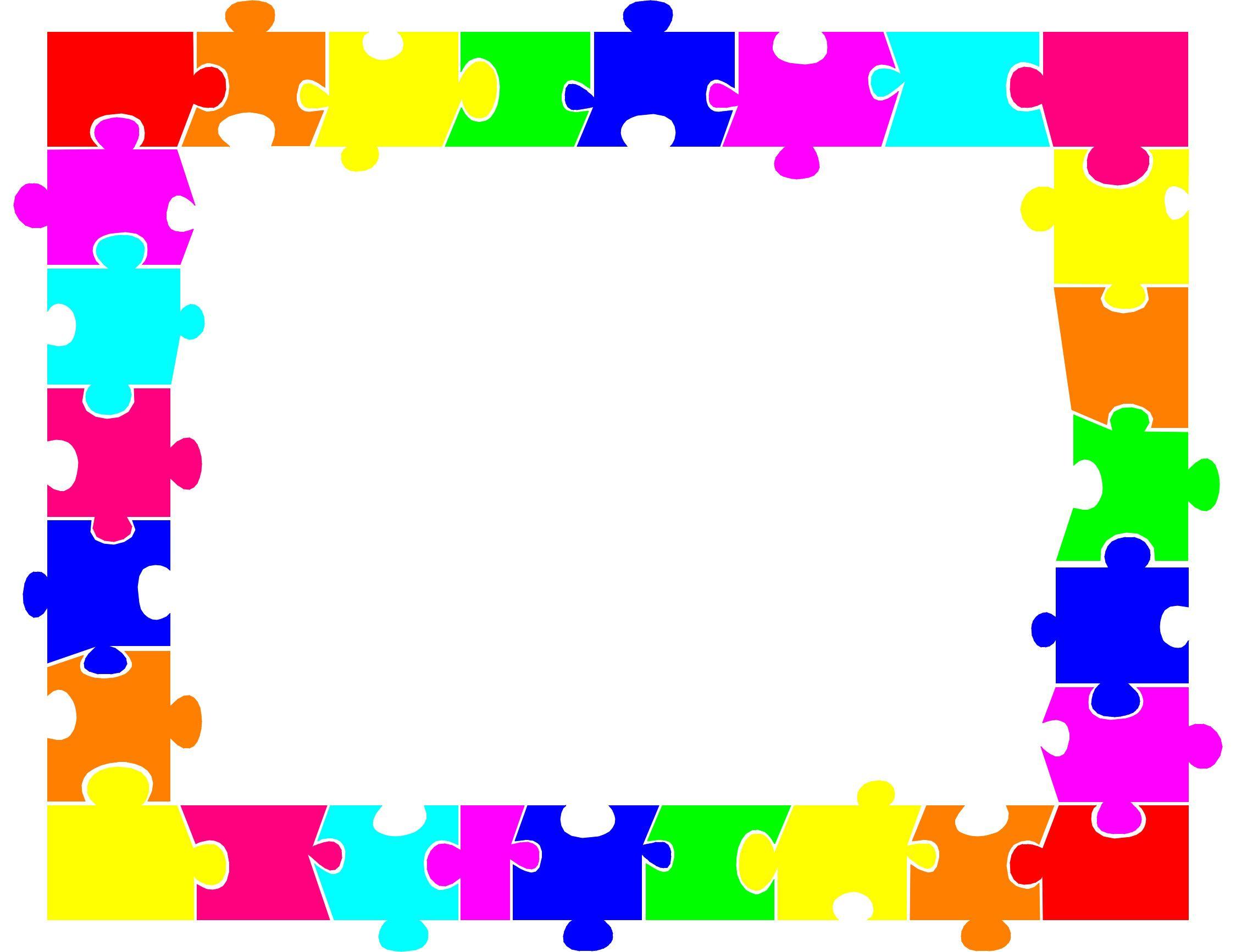 Autism Puzzle Piece Border Clip Art | Clip Art | Printable Border - Printable Autism Puzzle Piece