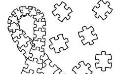 Autism Puzzle Piece Ribbon Coloring Page | Etsy   Printable Puzzle Piece Coloring Pages