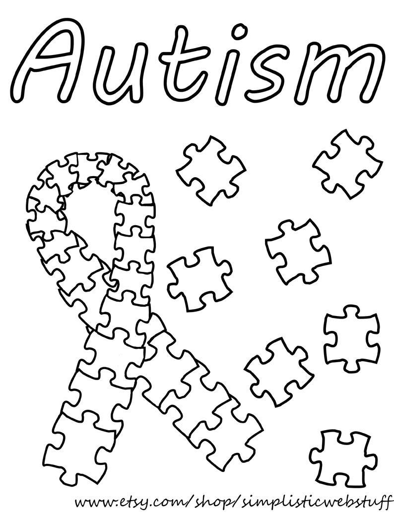 Autism Puzzle Piece Ribbon Coloring Page | Etsy - Printable Puzzle Piece Coloring Pages