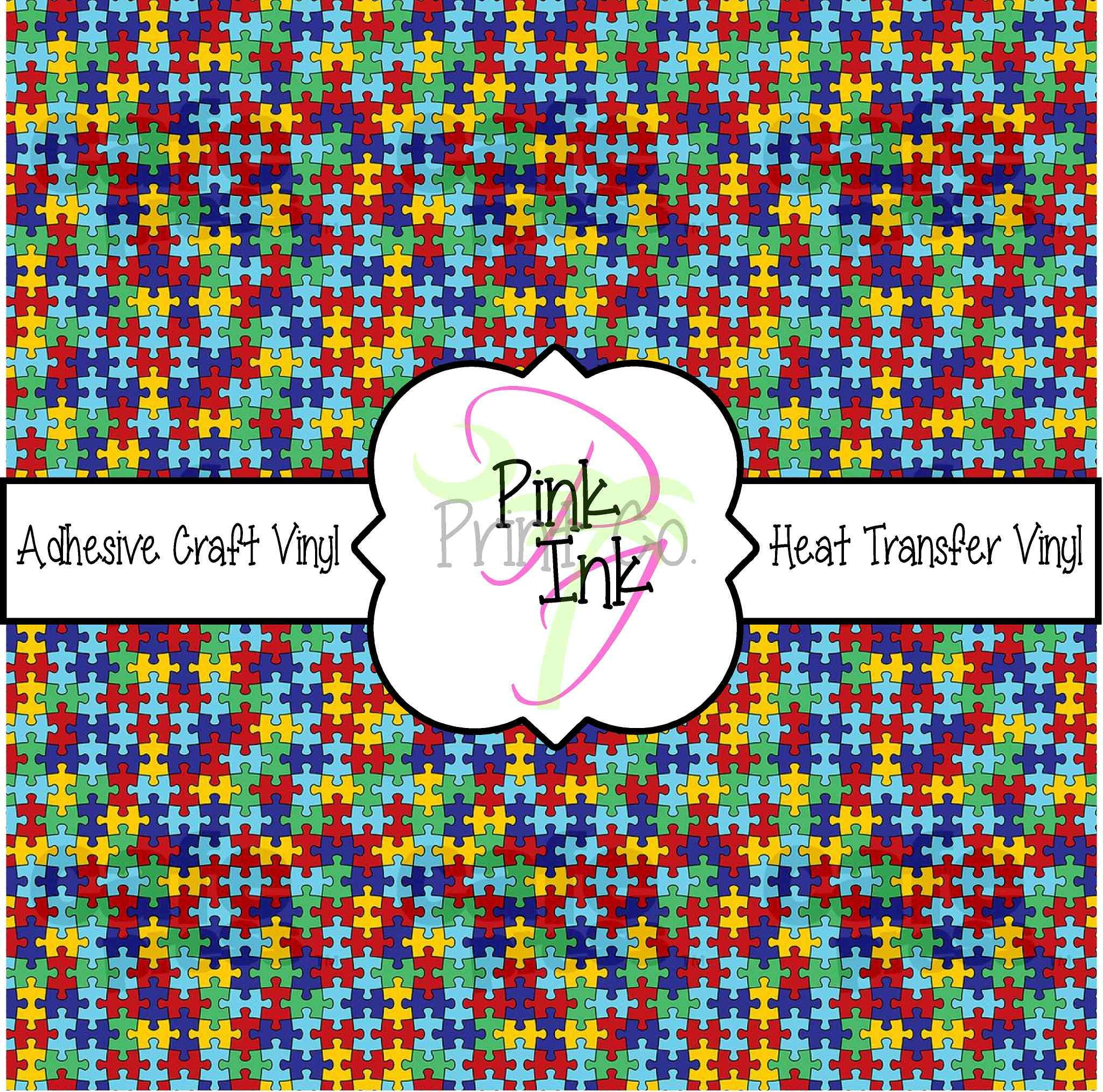 Autism Puzzle Printed Vinyl Hot Pink Patterned Adhesive Vinyl | Etsy - Puzzle Print Vinyl
