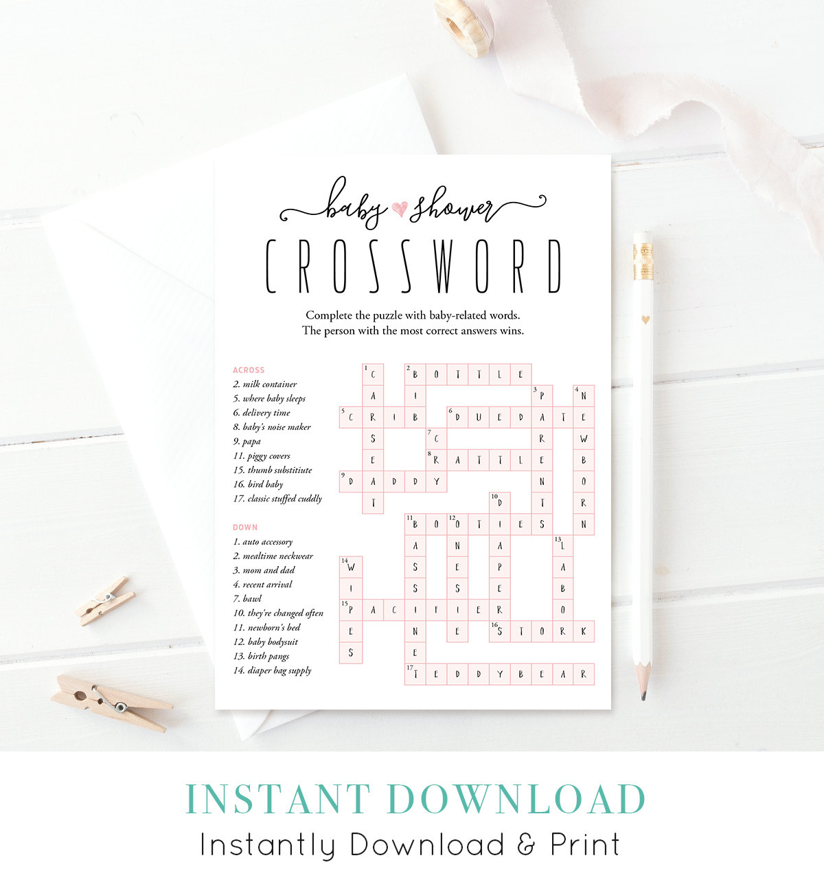 Baby Shower Crossword Puzzle Baby Shower Games Printable | Etsy - Printable Baby Shower Crossword Puzzle