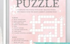 Baby Shower Crossword Puzzle Game . Baby It's Cold Outside Girl – Printable Baby Shower Crossword Puzzle Game