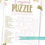 Baby Shower Crossword Puzzle Game . Pink And Gold Girl Baby Shower   Free Printable Baby Shower Crossword Puzzle
