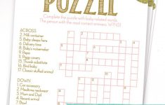 Baby Shower Crossword Puzzle Game . Pink And Gold Girl Baby Shower – Printable Baby Crossword Puzzles