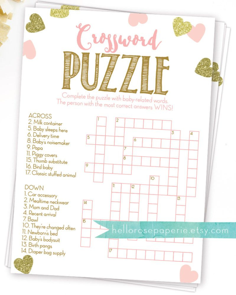 Baby Shower Crossword Puzzle Game . Pink And Gold Girl Baby Shower - Printable Baby Crossword Puzzles