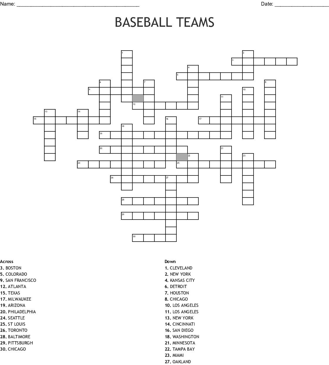Baseball Teams Crossword - Wordmint - Printable Baseball Crossword Puzzles