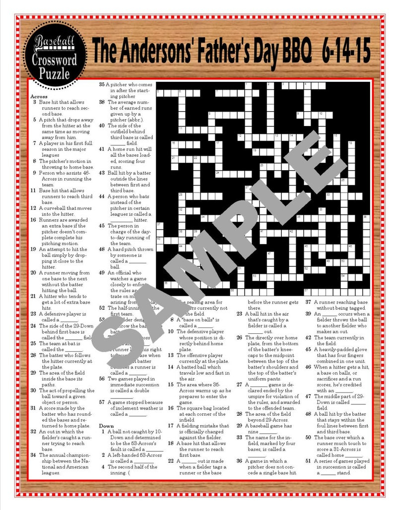Baseball Terms Printable Crossword Puzzle Baseball-Themed | Etsy - Baseball Crossword Puzzle Printable