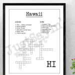 Bathroom Or Anywhere Crossword Puzzle Art Print Hawaii State | Etsy   Printable 50 States Crossword Puzzles