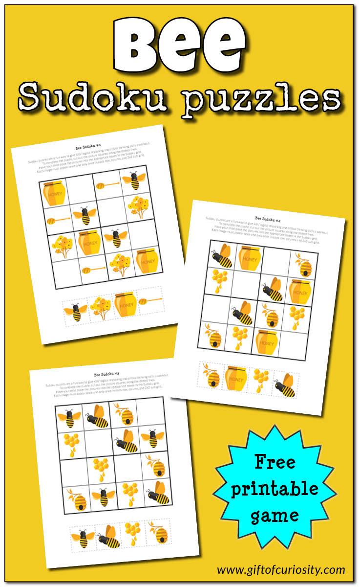 Bee Sudoku {Free Printable} - Gift Of Curiosity - Free Printable - Printable Thinking Puzzles