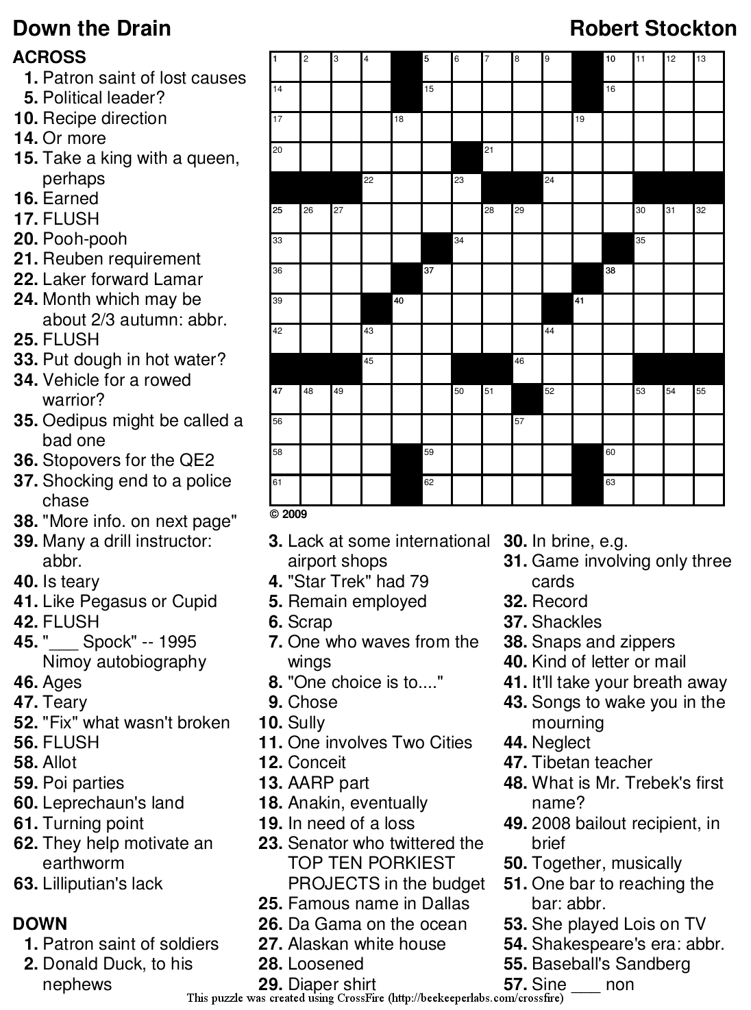 "Beekeeper Crosswords » Blog Archive » Crossword #98: ""Down The Drain"" - Printable Crossword Puzzles 2010"