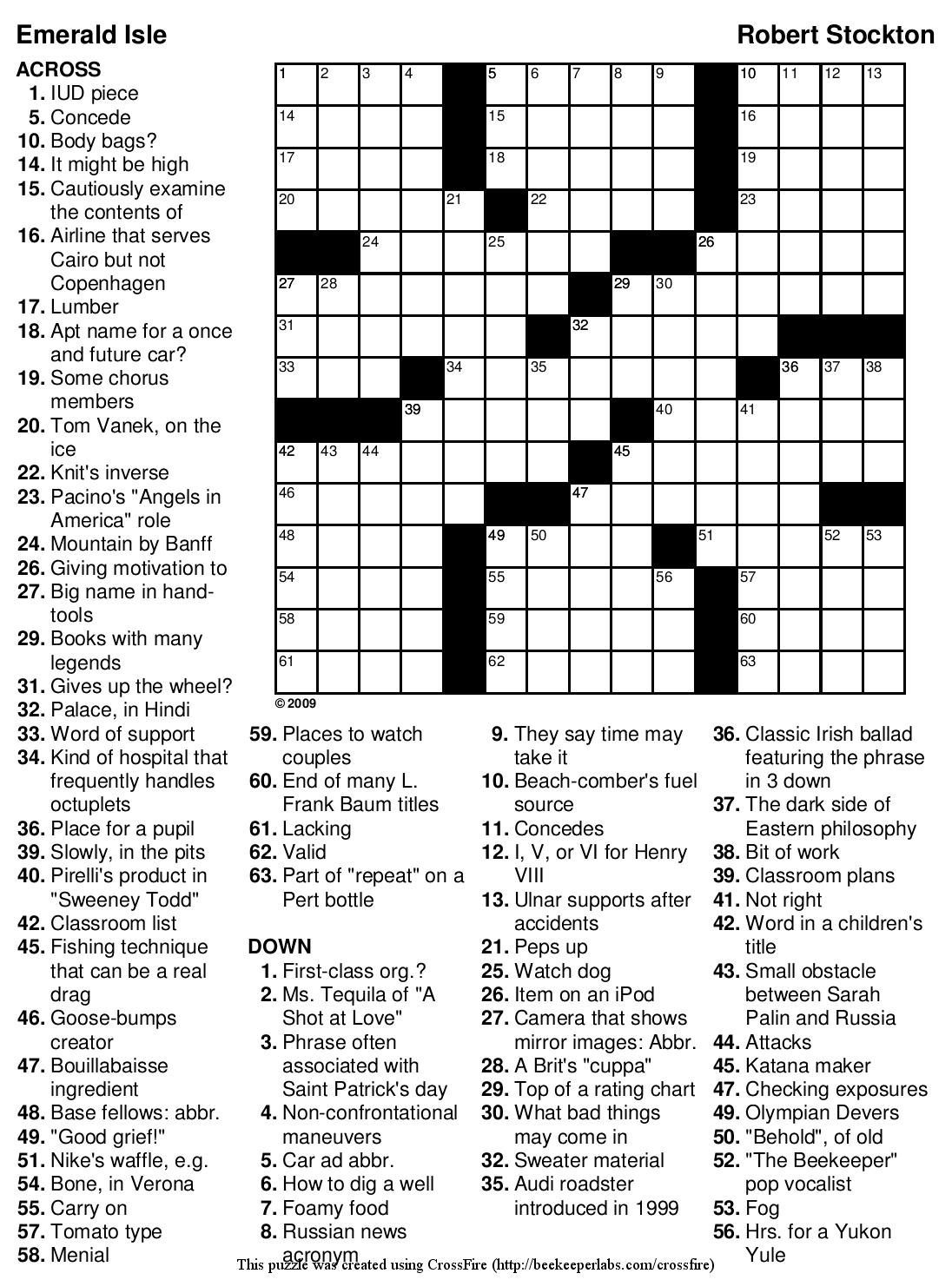 "Beekeeper Crosswords » Blog Archive » Puzzle #89: ""Emerald Isle"" - Will Shortz Crossword Puzzles Printable"