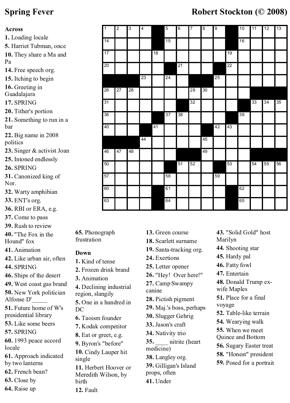 Beekeeper Crosswords - Free Printable Universal Crossword Puzzles