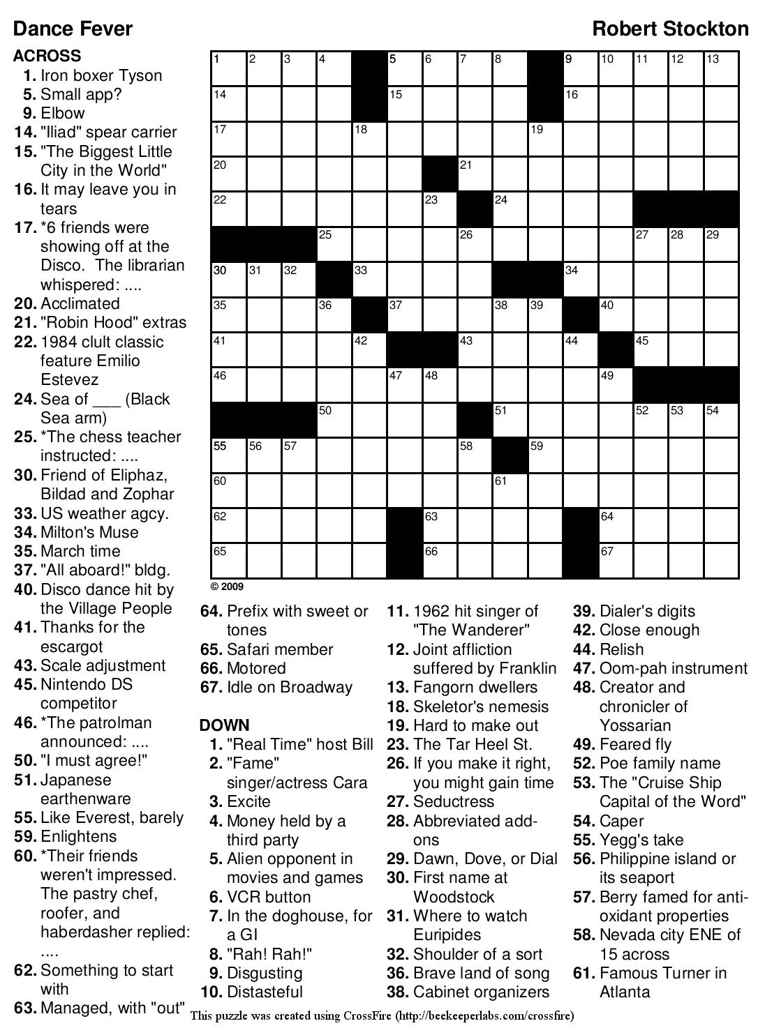 Beekeeper Crosswords - Printable Crossword Puzzles And Solutions