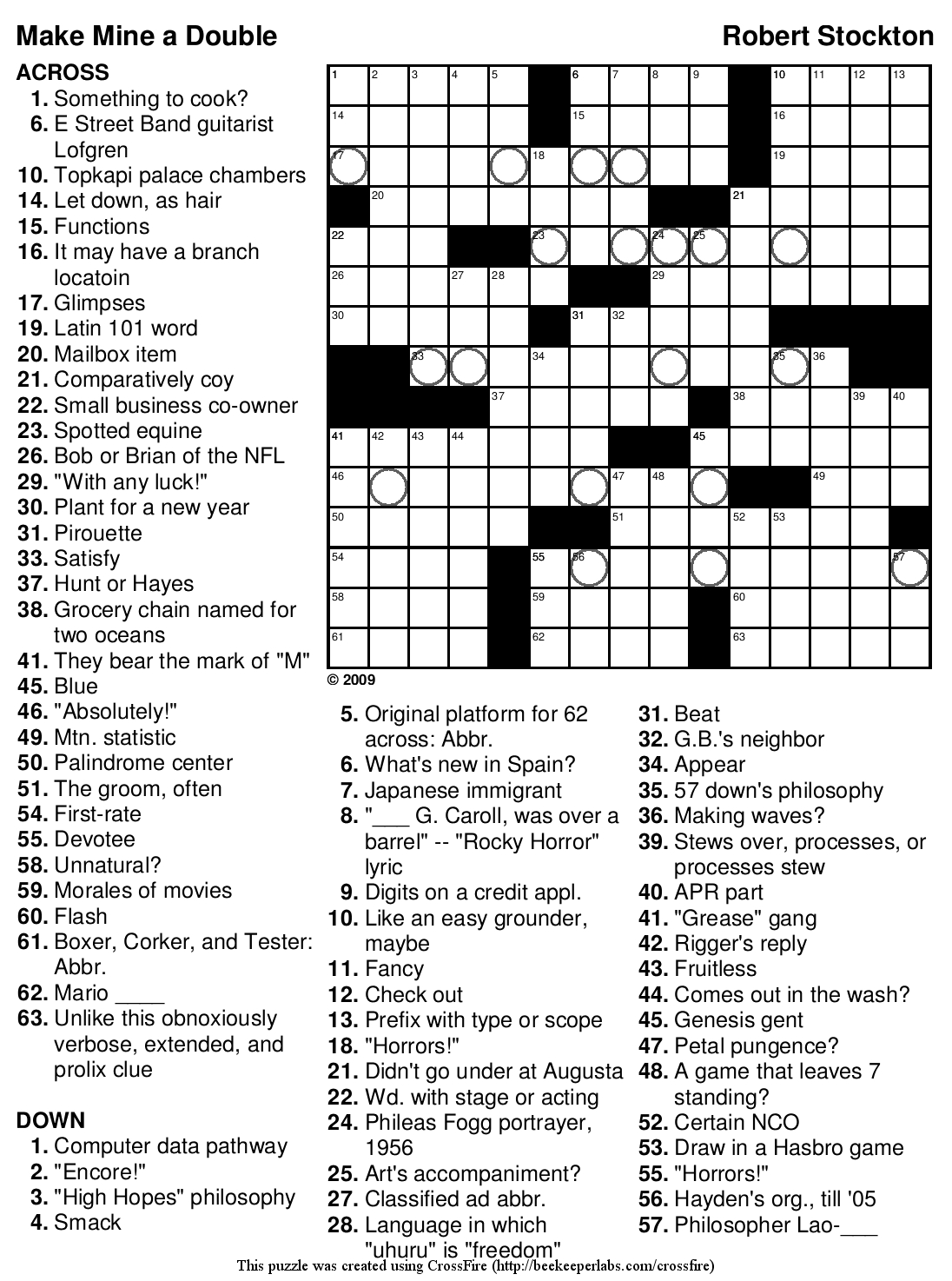 Beekeeper Crosswords - Printable Crossword Puzzles Difficult