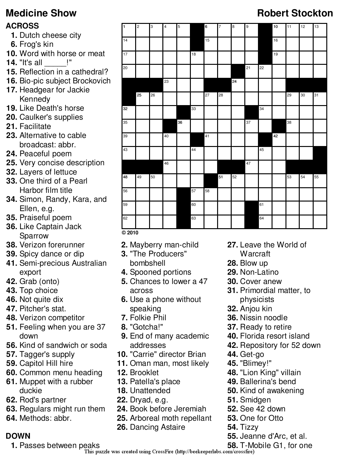 Beekeeper Crosswords - Printable Crossword Solutions
