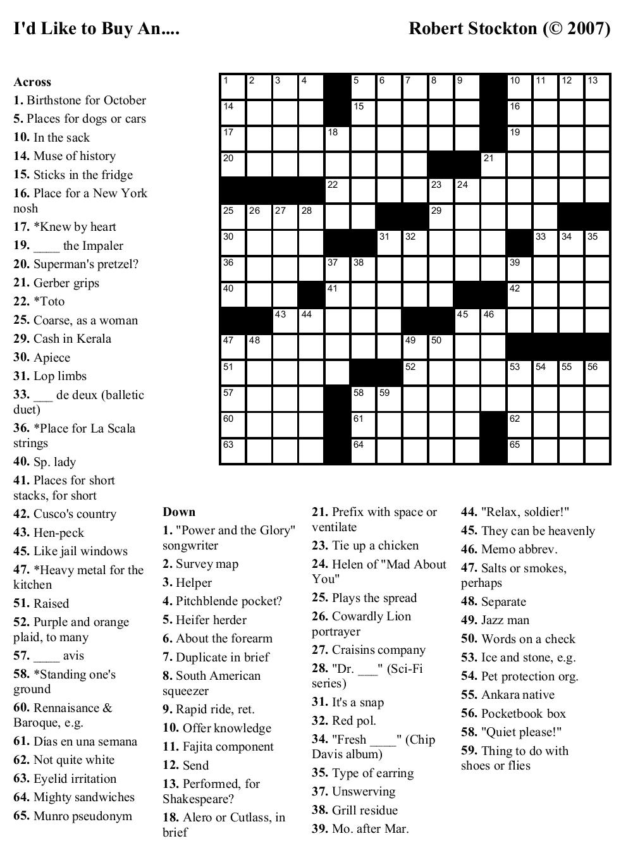 Beekeeper Crosswords - Printable October Puzzles