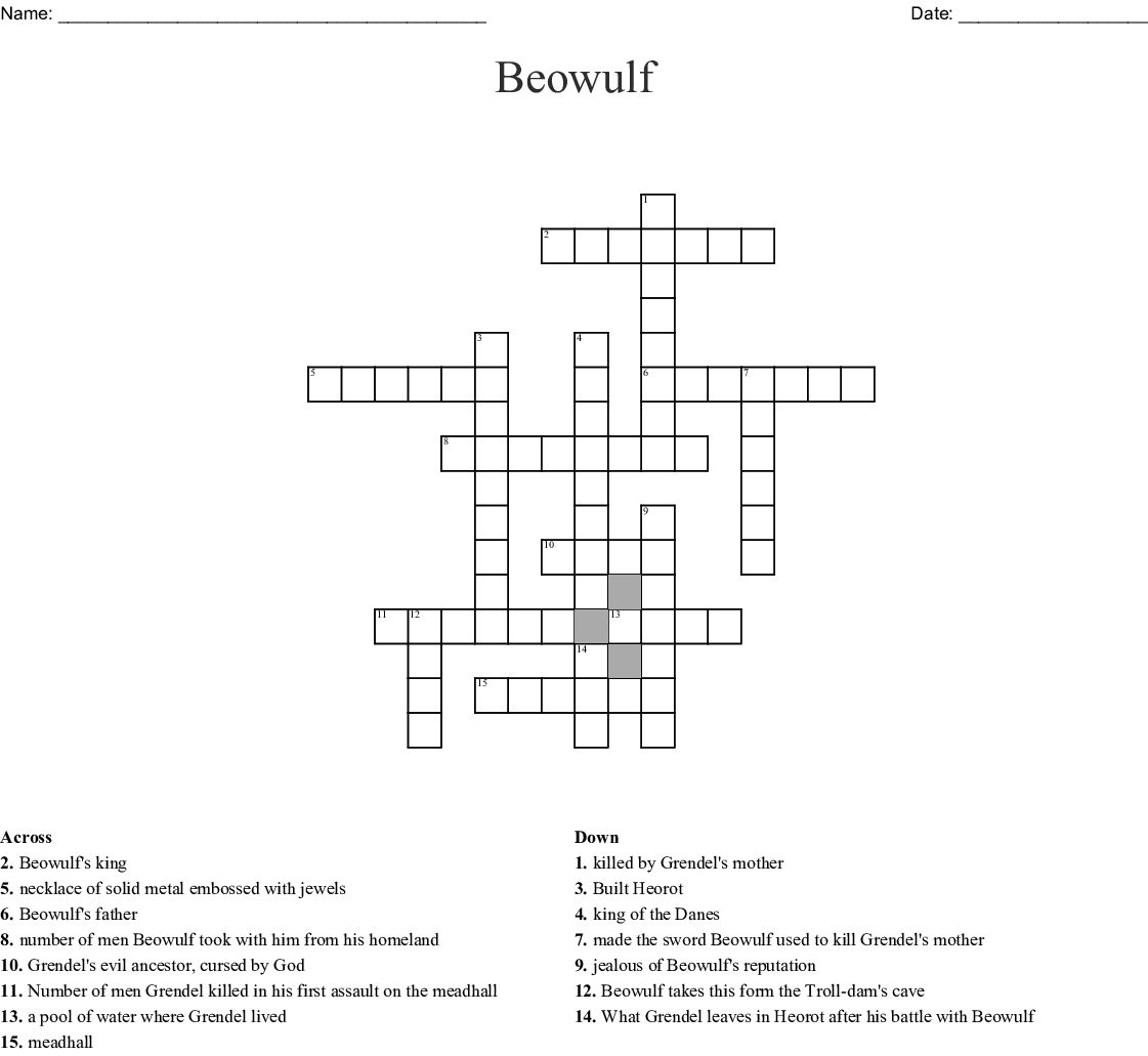 Beowulf Crossword - Wordmint - Printable Beowulf Crossword Puzzle