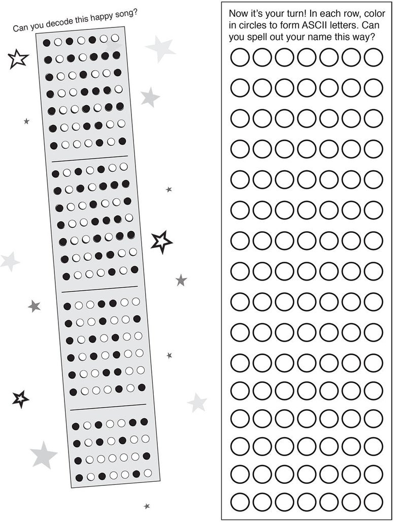 Binary Code Free Printable Activity Pages | Etsy - Printable Binary Puzzles