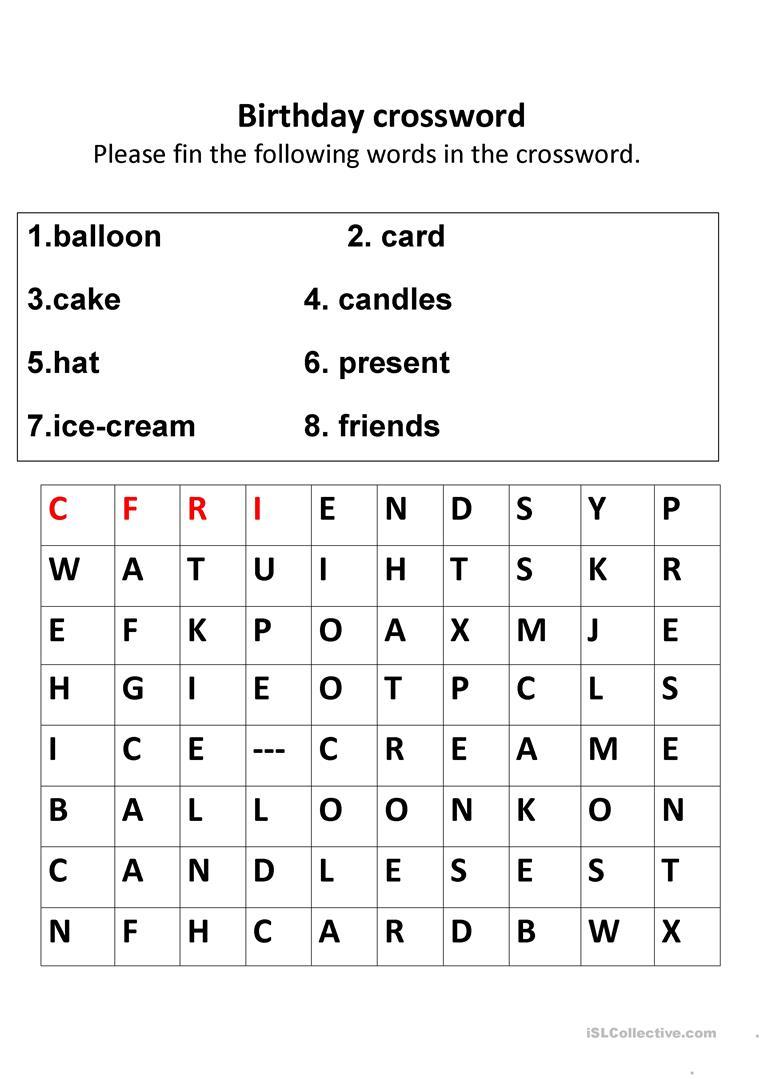 Birthday Crosswords Worksheet - Free Esl Printable Worksheets Made - Printable Birthday Crossword Puzzles