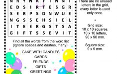Birthday Zigzag Word Search Puzzle | Free Printable Puzzle Games   Printable Birthday Puzzles